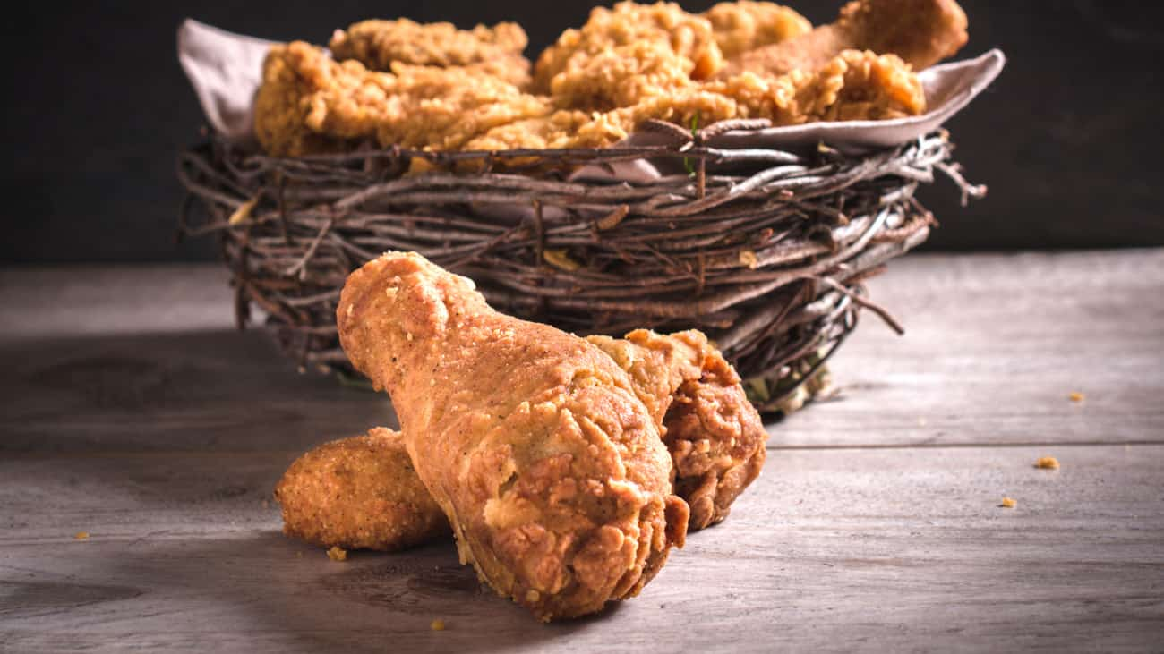 KFC fried chicken recipe pieces of chicken in a basket