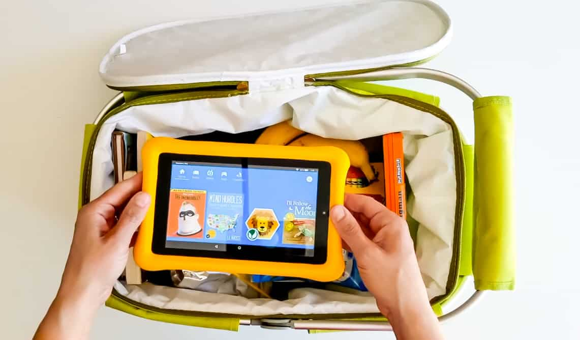 Kindle Fire Kids Edition Tablet on a Road Trip Essentials basket