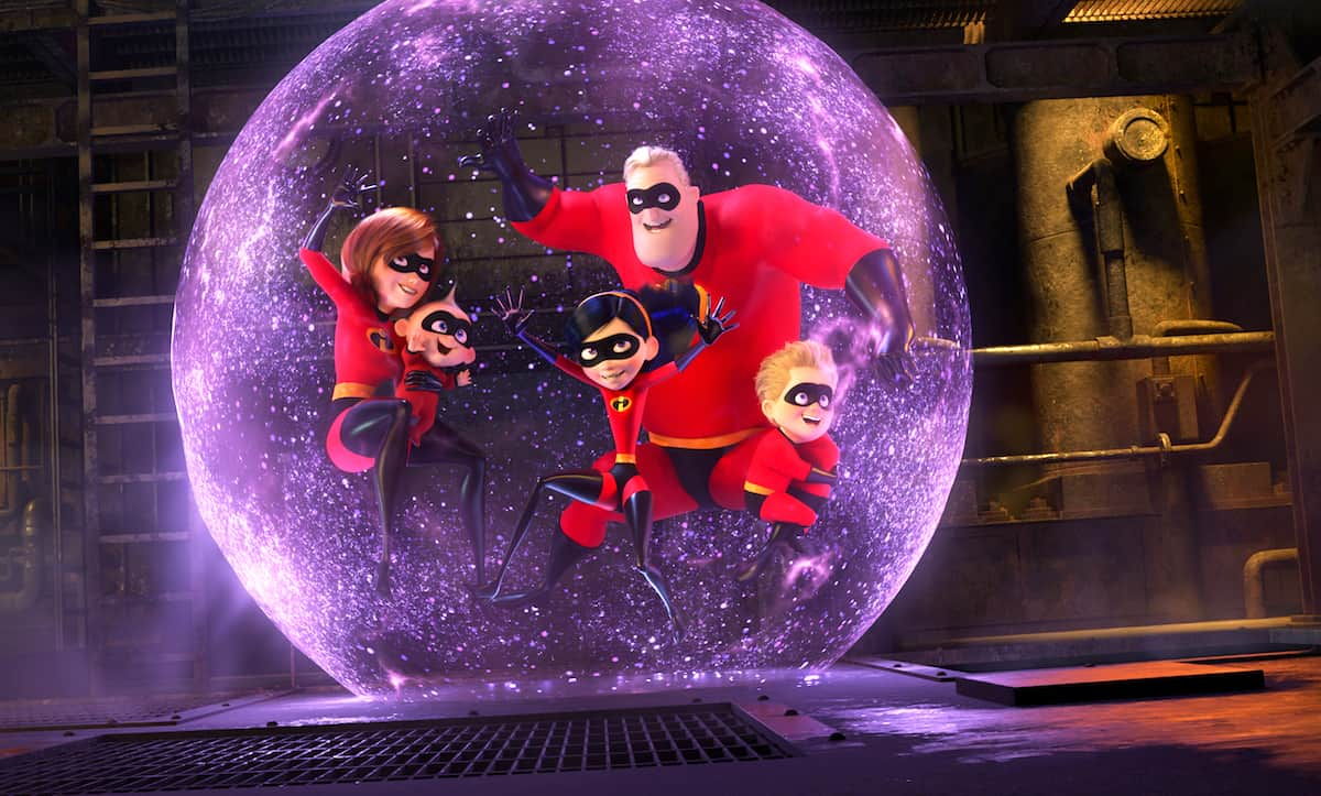 Incredibles 2 movie still family in force field bubble
