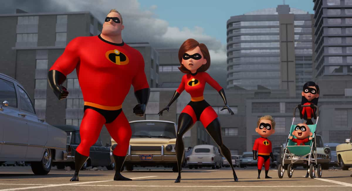 Incredibles 2 still whole family in costume uniform