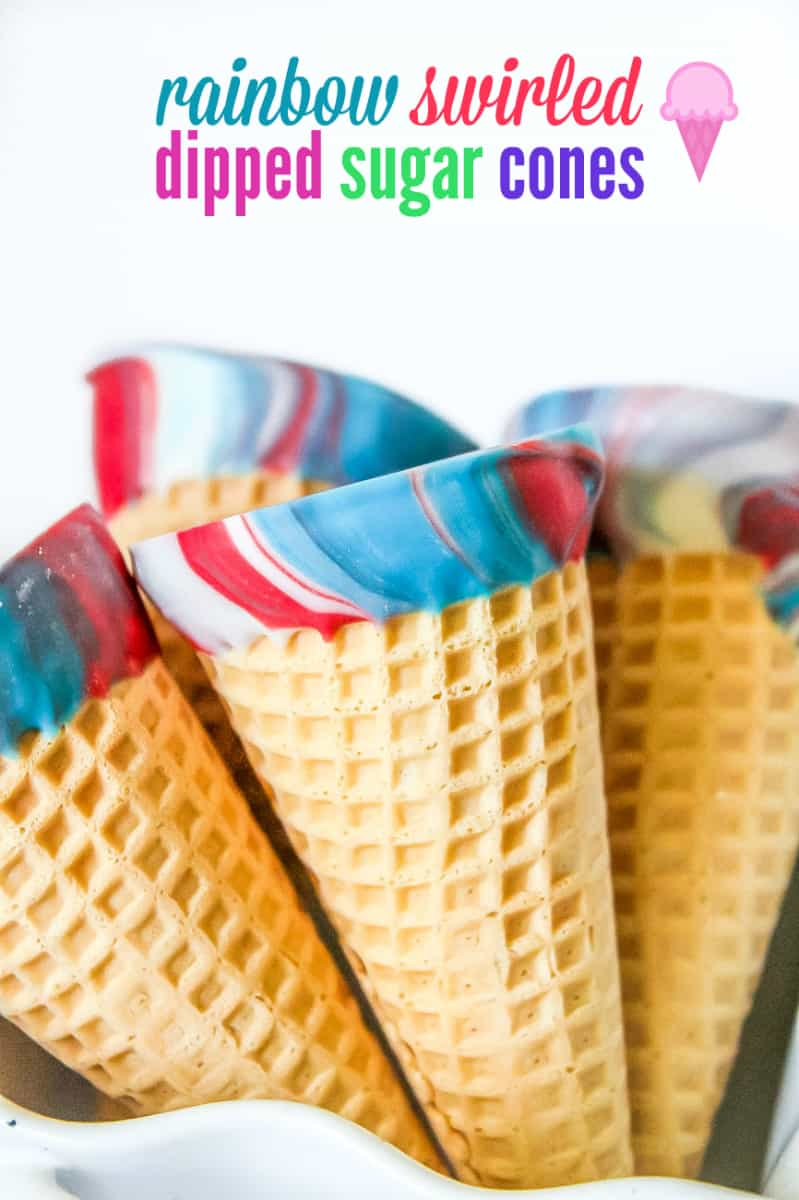 dipped sugar cones in melted chocolate rainbow of colors