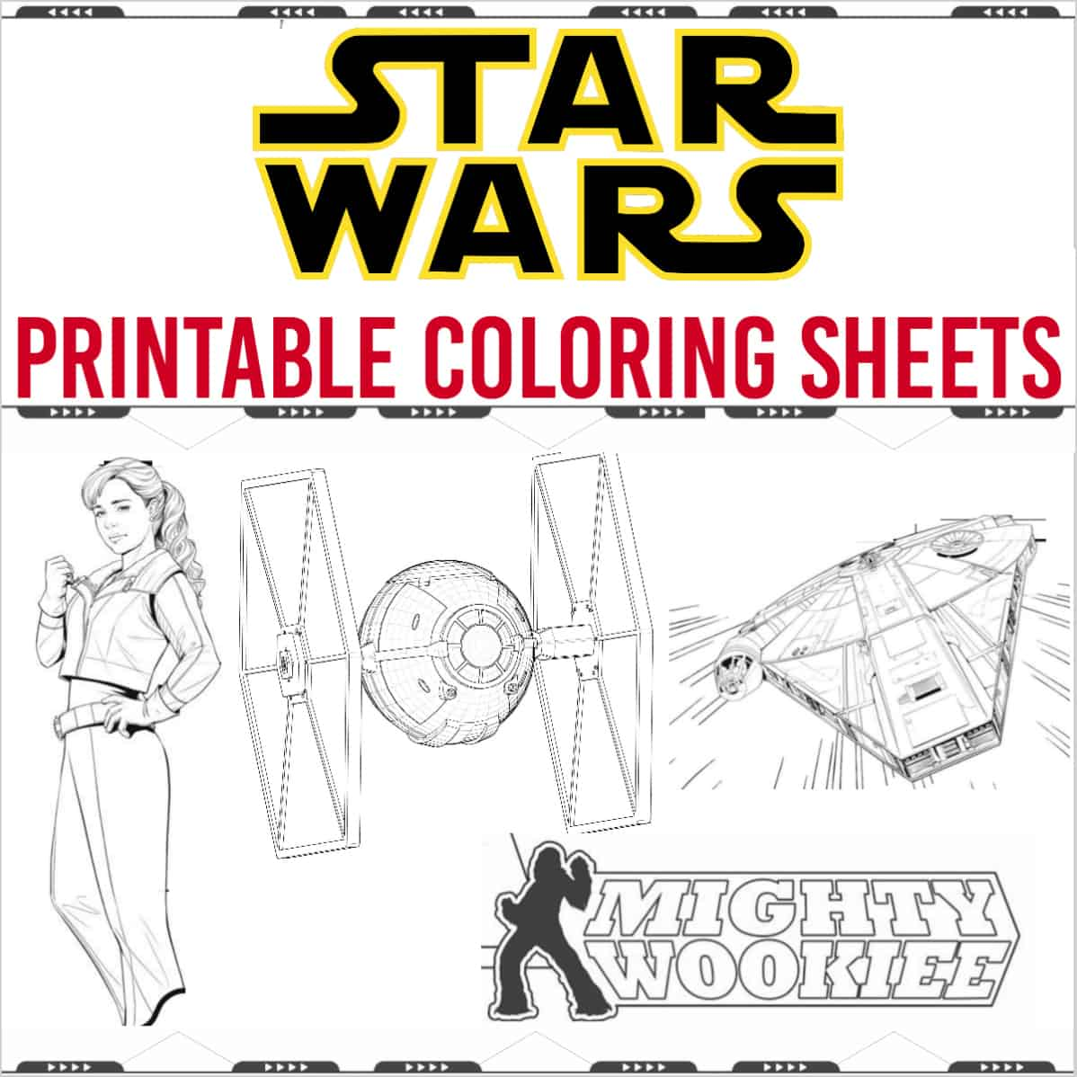 Star Wars coloring pages tie fighter, mighty wookie, Qi Ra