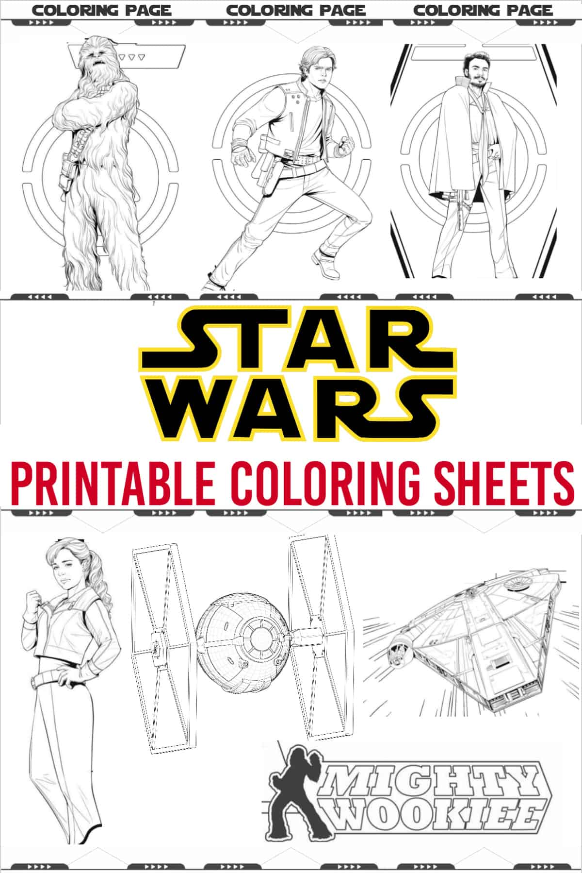 Star Wars coloring pages, activity sheets with Chewbacca, Hans Solo, Lando, tie fighter, millennium falcon and qi ra