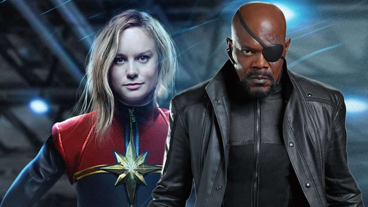 Samuel L jackson and Brie Larson as Nick Fury Captain Marvel