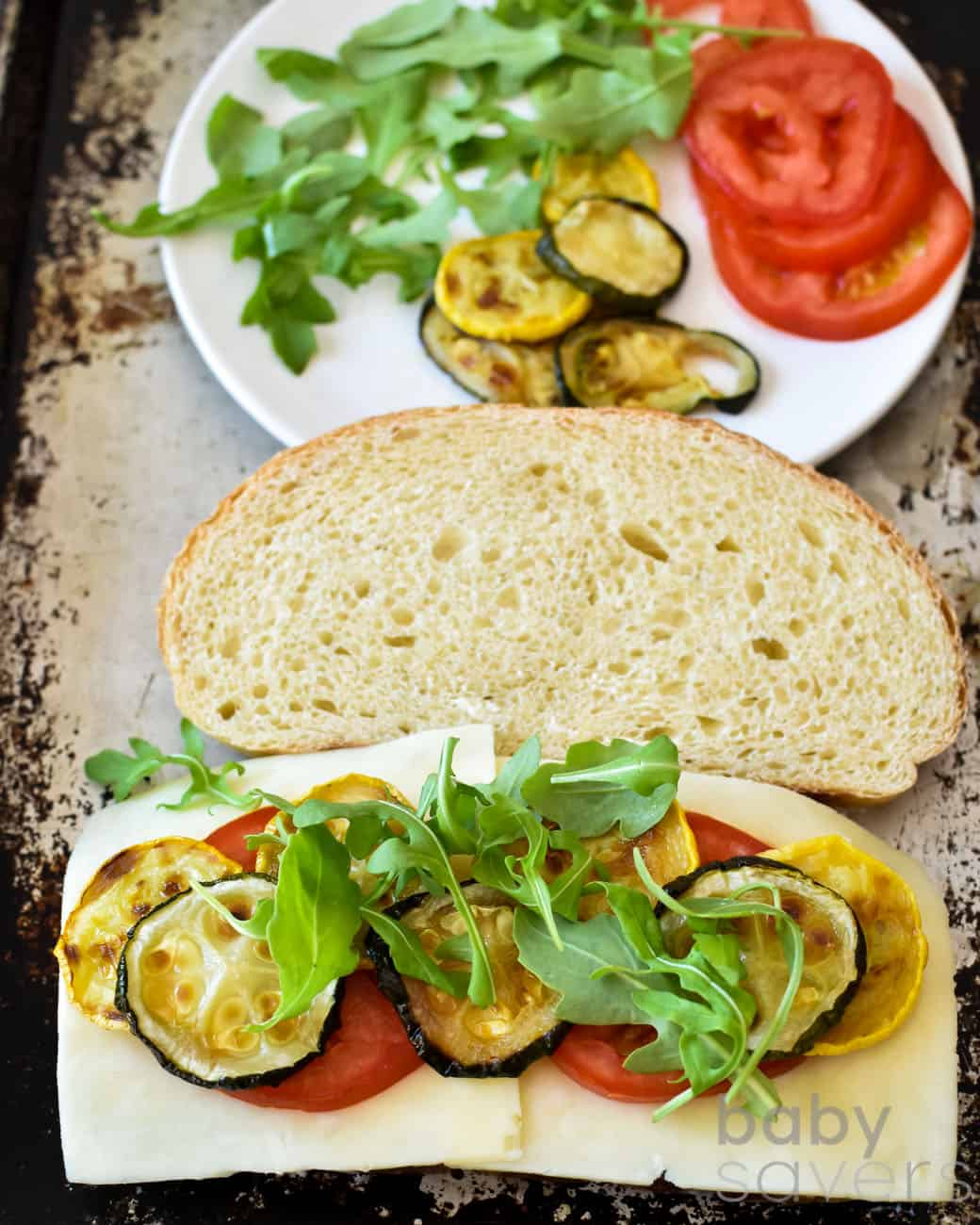 zucchini grilled cheese recipe with arugula
