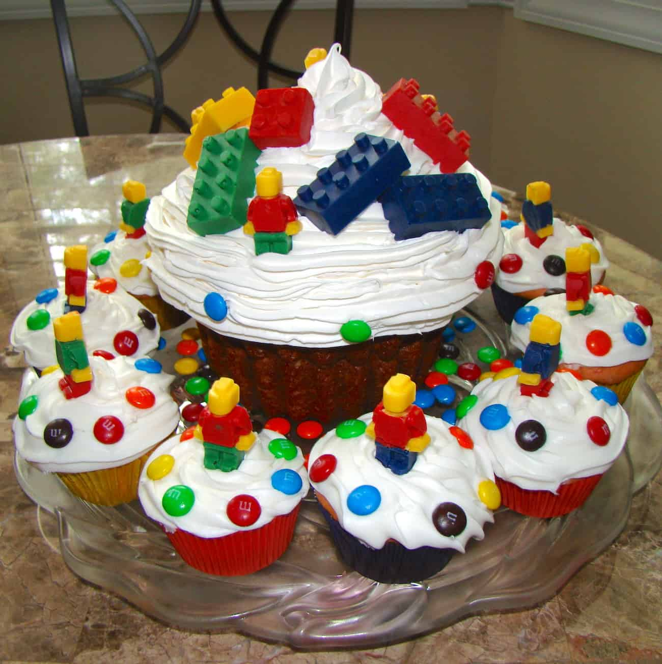 lego cake from giant cupcake pan