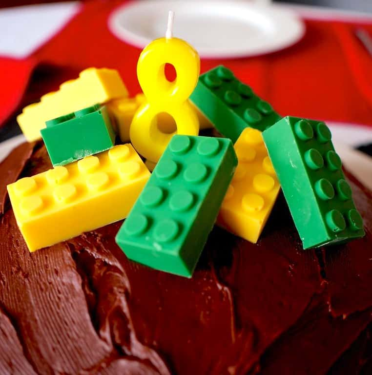 lego cake with candy bricks