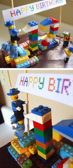 cake topper made from legos