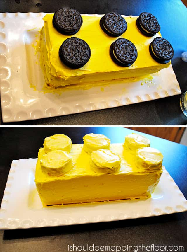 lego cake with oreo cookies