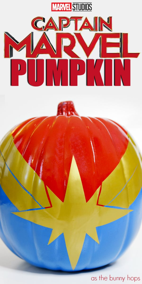 Disney Marvel painted pumpkin captain marvel