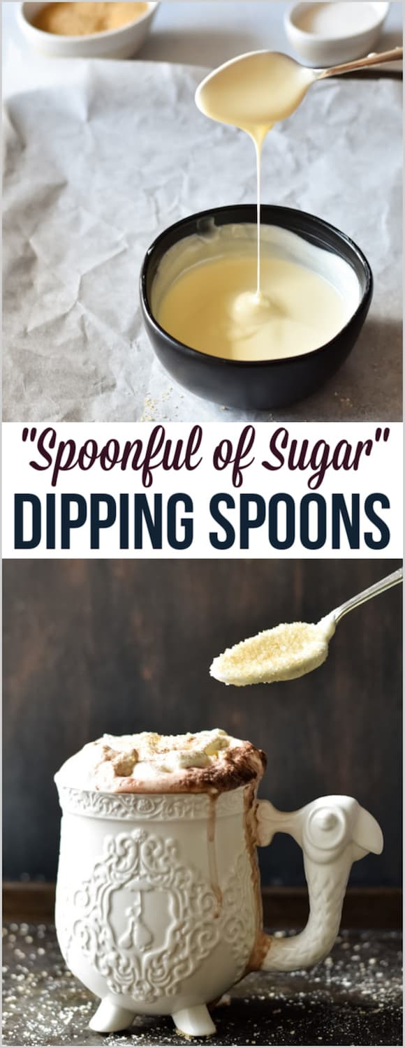 "A spoonful of sugar"" white chocolate dipped cocoa spoons for Mary Poppins!"