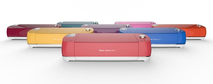 Cricut Explore Air 2 machines in red, yellow, blue, purple, pink and green