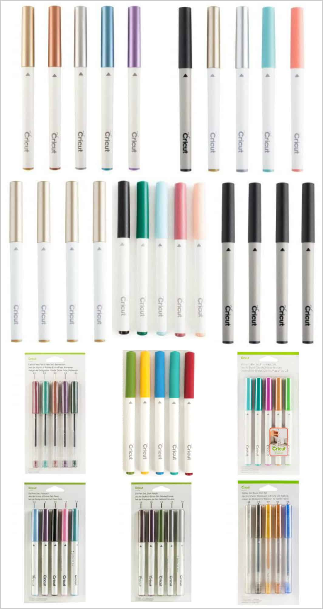 Variety of Cricut pens to use with the machine