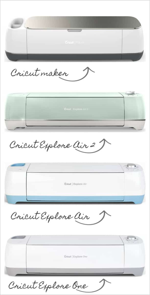 4 different cricut machines with names and arrows
