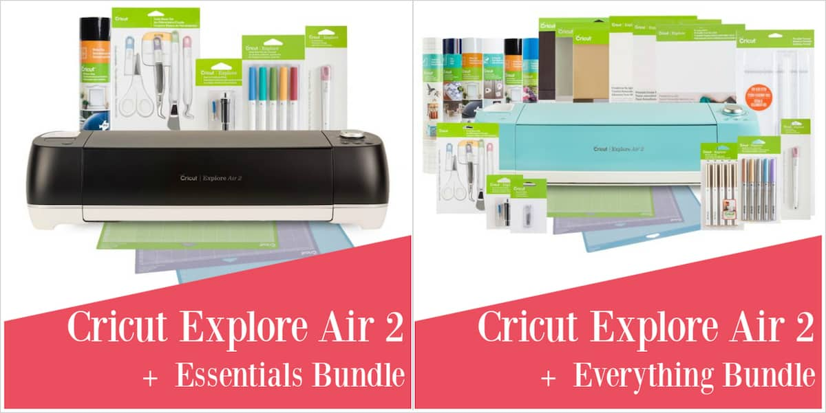 Cricut Explore Air 2 bundles with text overlay