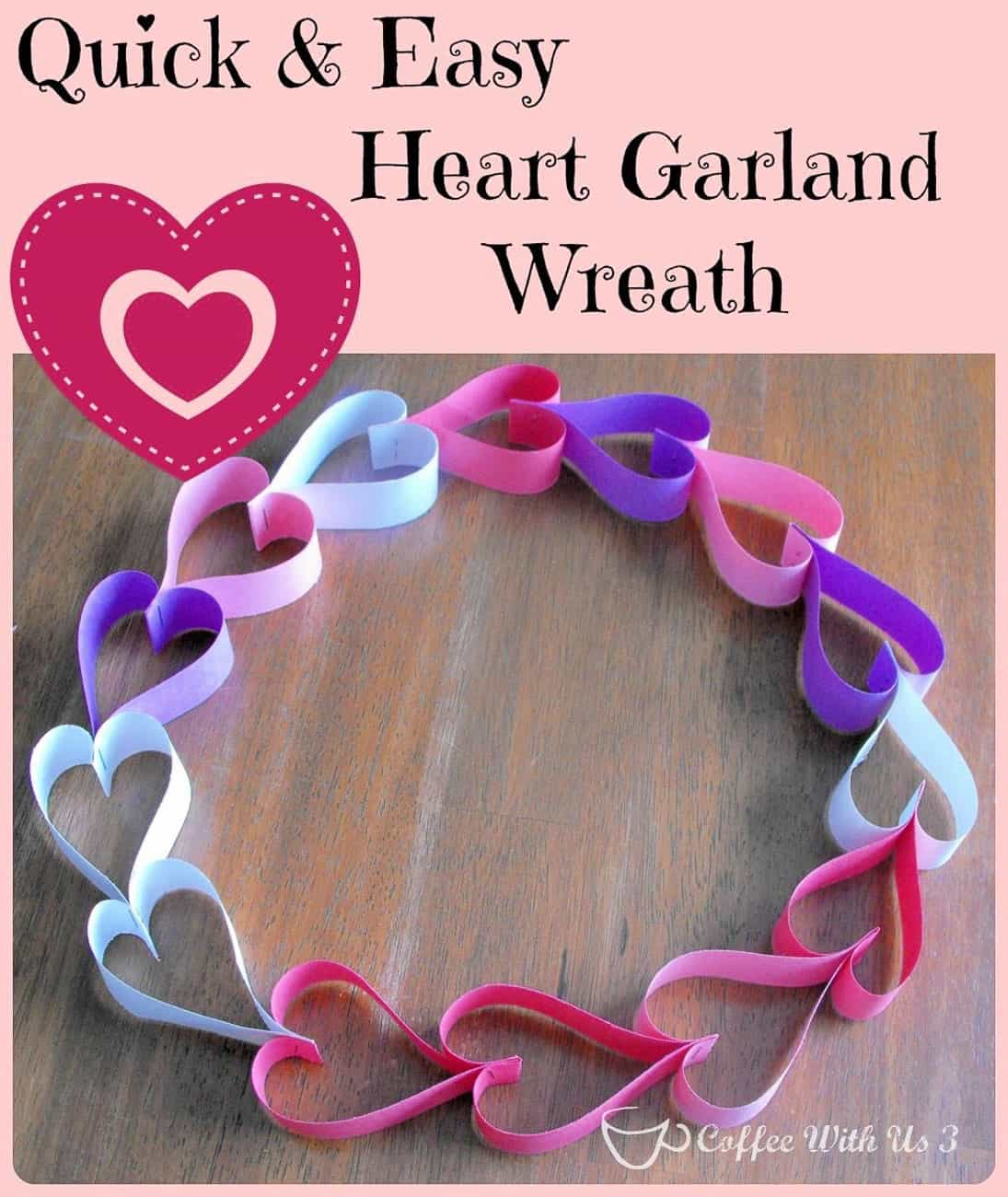 Valentine Crafts for kids heart garland wreath