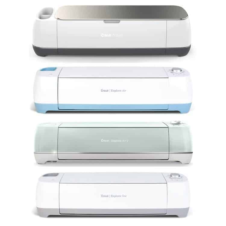 Cricut Maker, explore air, Explore Air 2 and Explore One machines in a vertical image