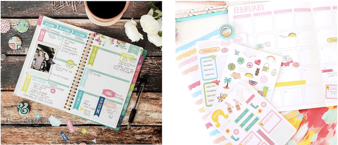 Planner designs, bullet journal, calendar with homemade stickers