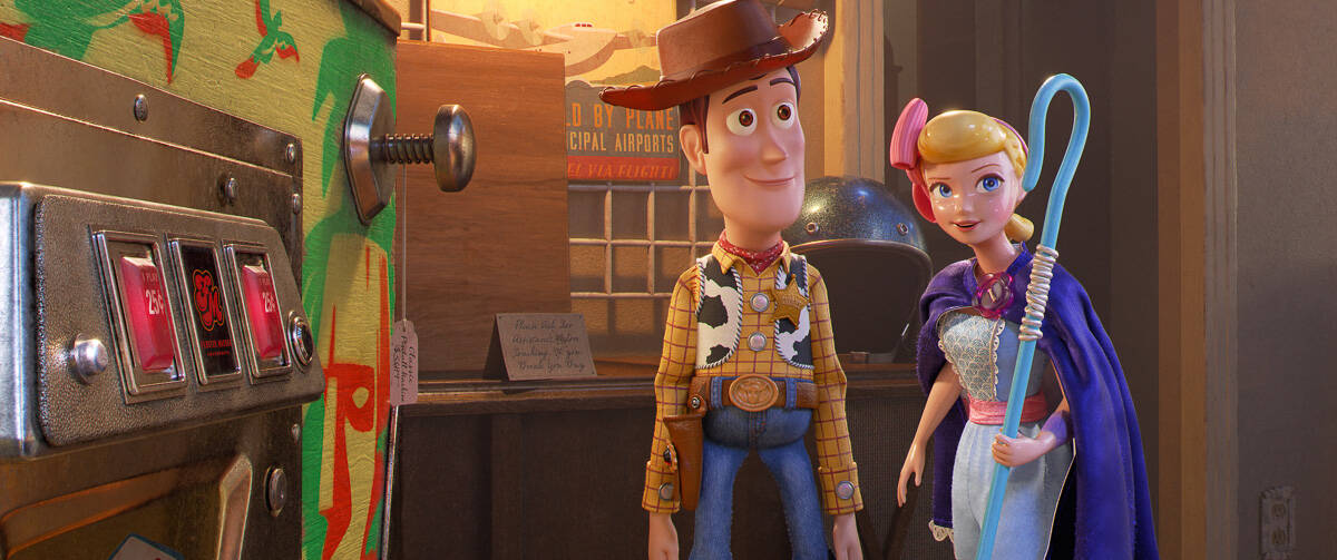 Toy Story 4 parent guide Woody and Bo Peep outside machine
