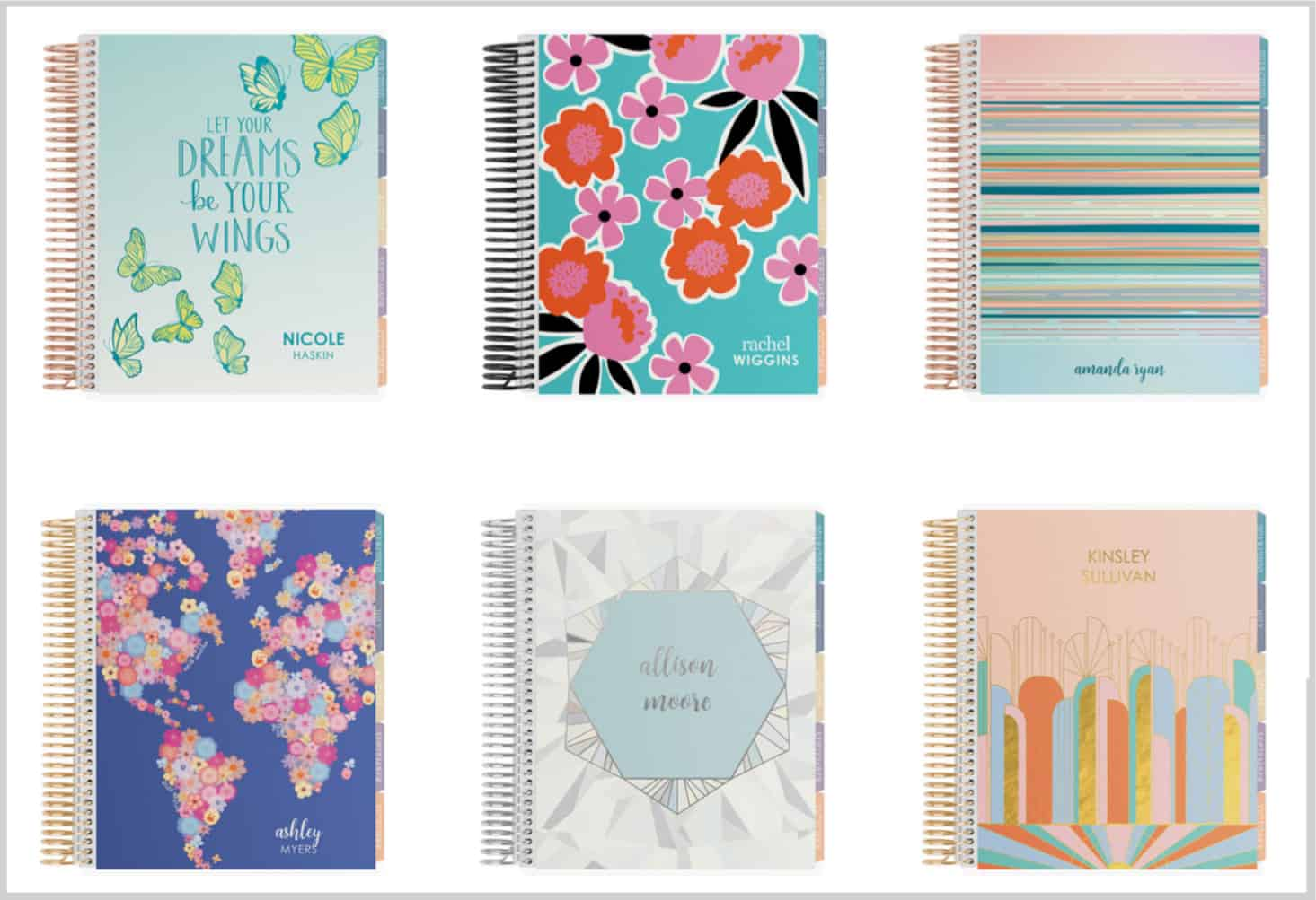 Erin Condren Deluxe Monthly Planner coil colors
