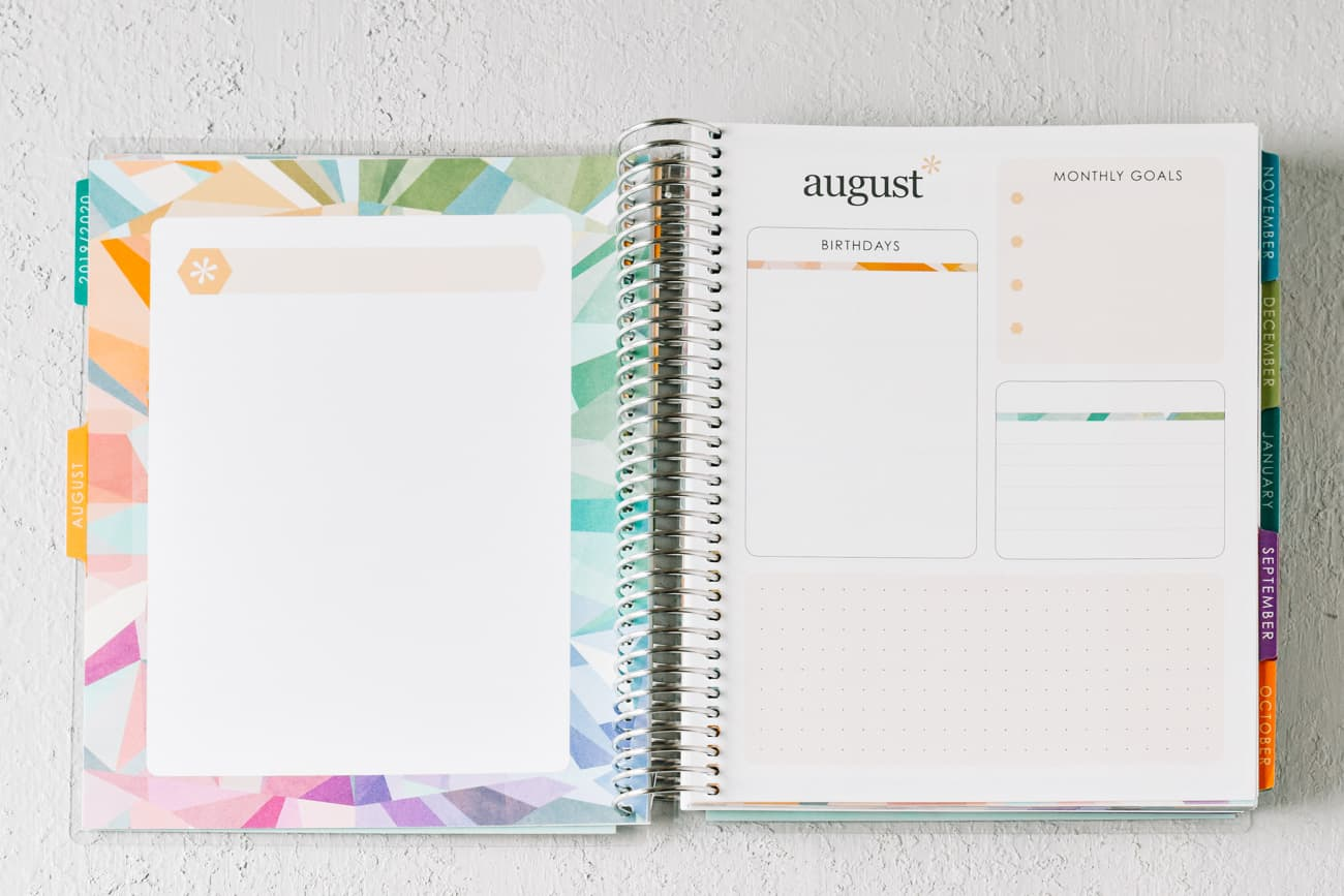 Multicolor planner page and montly summary page