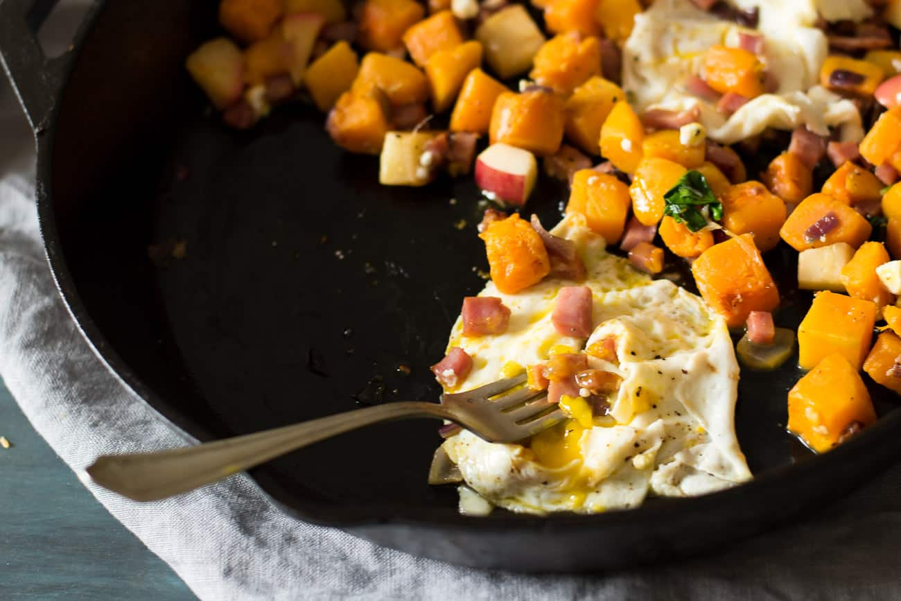 butternut squash hash with runny egg
