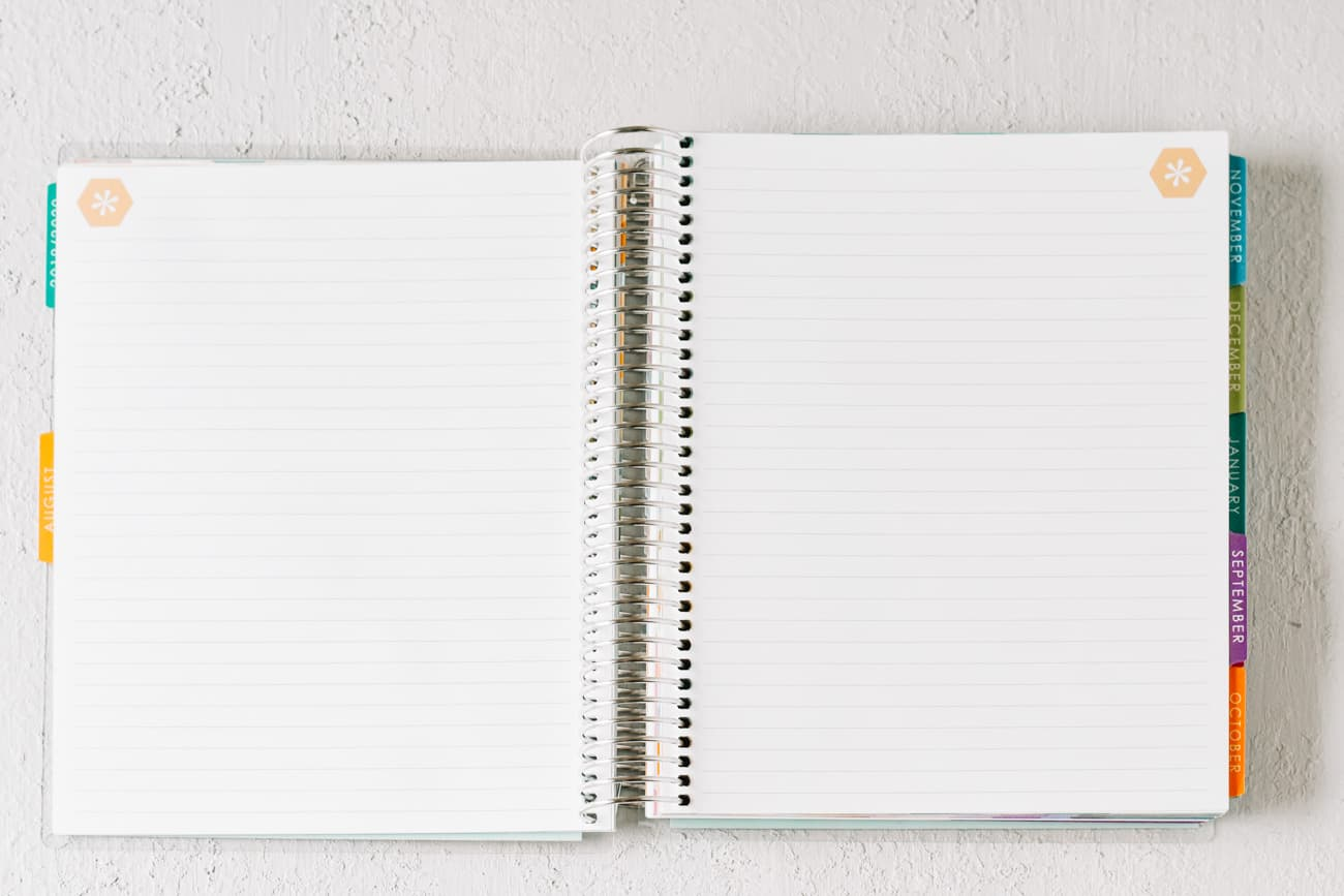 open pages of spiral bound notebook with multicolor monthly tabs