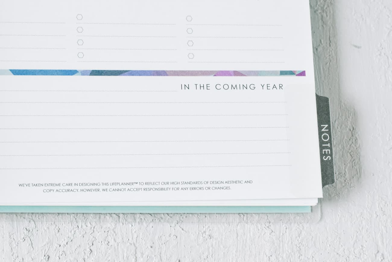 Planner page Notes section with In the Coming Year printed on it