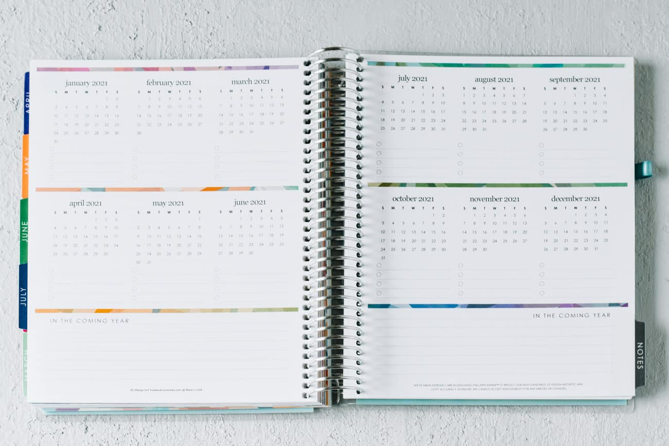 Open pages of calendar in a spiral bound notebook