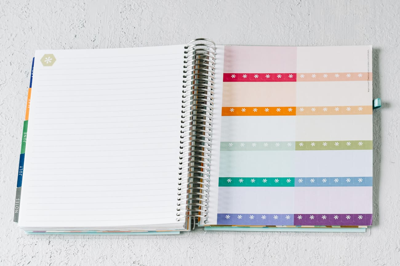 spiral bound journal with sticker pages
