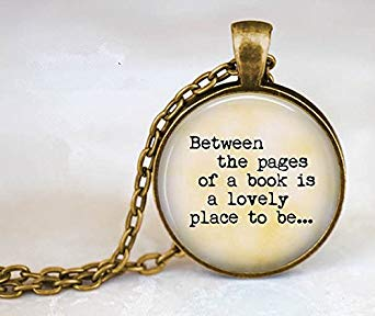 Between the pages of a book pendant necklace
