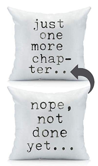 Just One More Chapter... reversible throw pillow