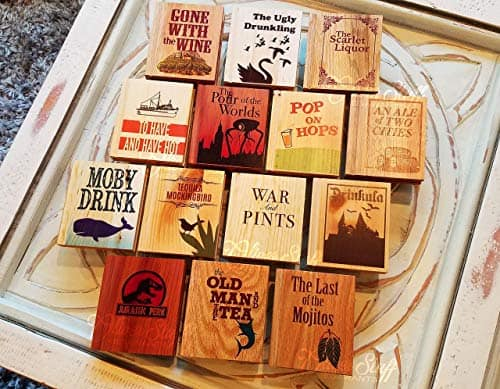 Solid Wood Book Coasters with Drinking Puns
