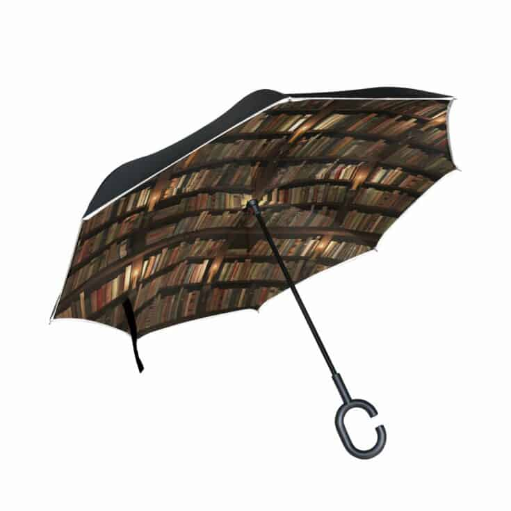 Library and Books Reversible Double Umbrella