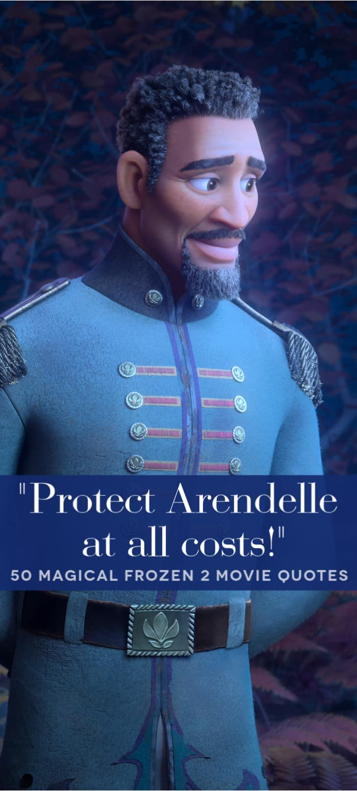 Lieutenant Mattias from Frozen 2 with quote overlay