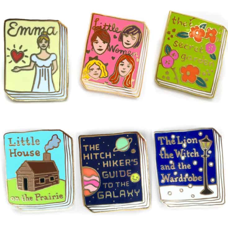 Book cover Enamel Pins