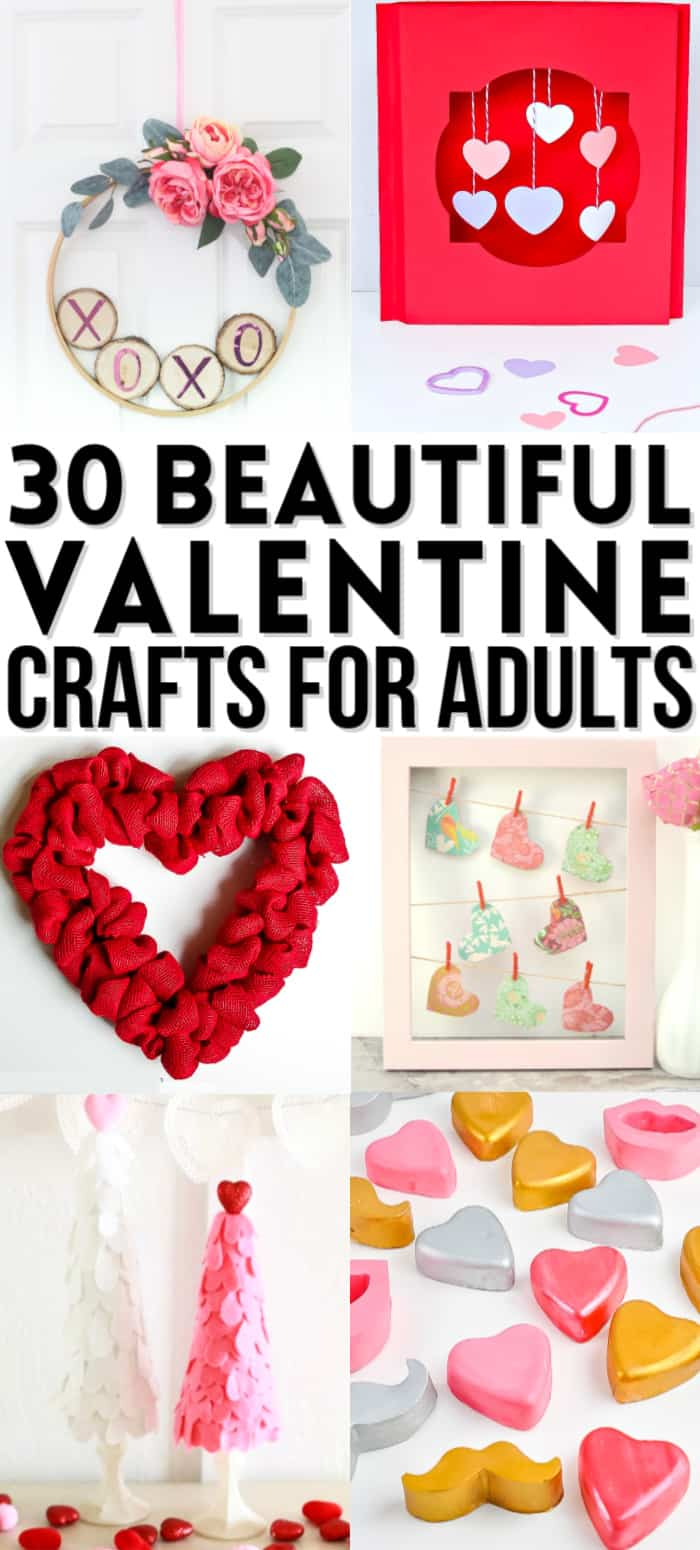 collage of valentine crafts for adults