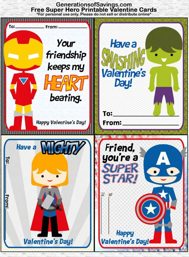 marvel superhero valentines