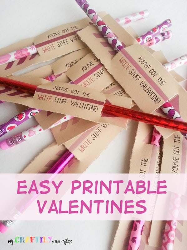 homemade valentines attached to pencils