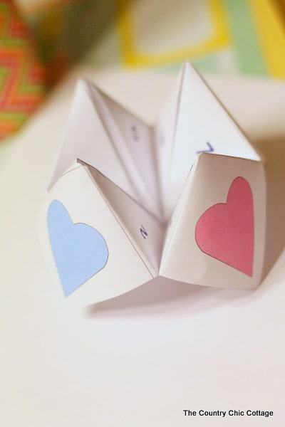 folded cootie catcher with hearts