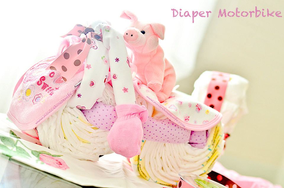 how to make a diaper cake motorcycle