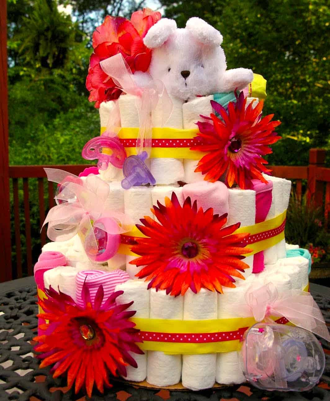 big diaper cake with flowers