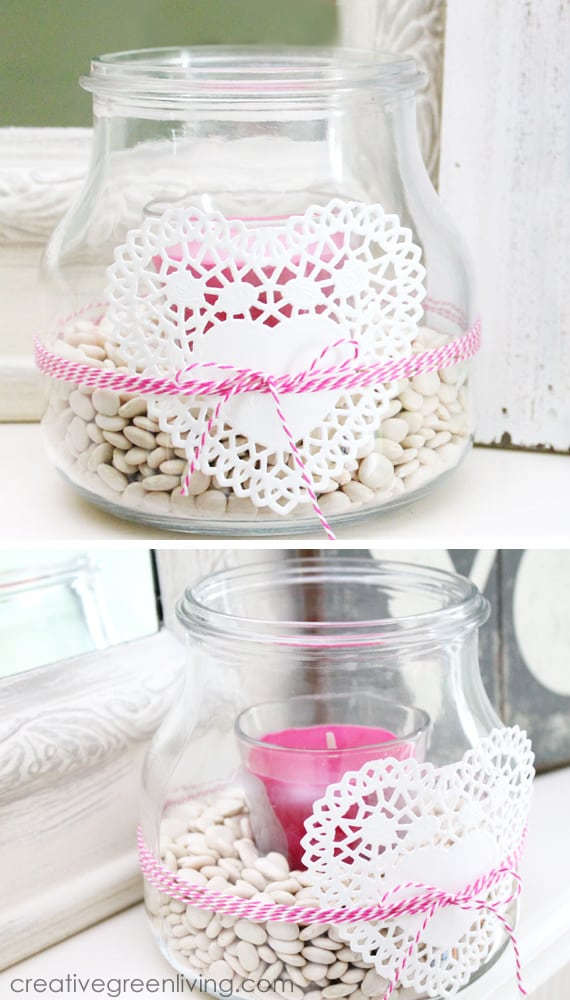 pink candle in clear jar with lace