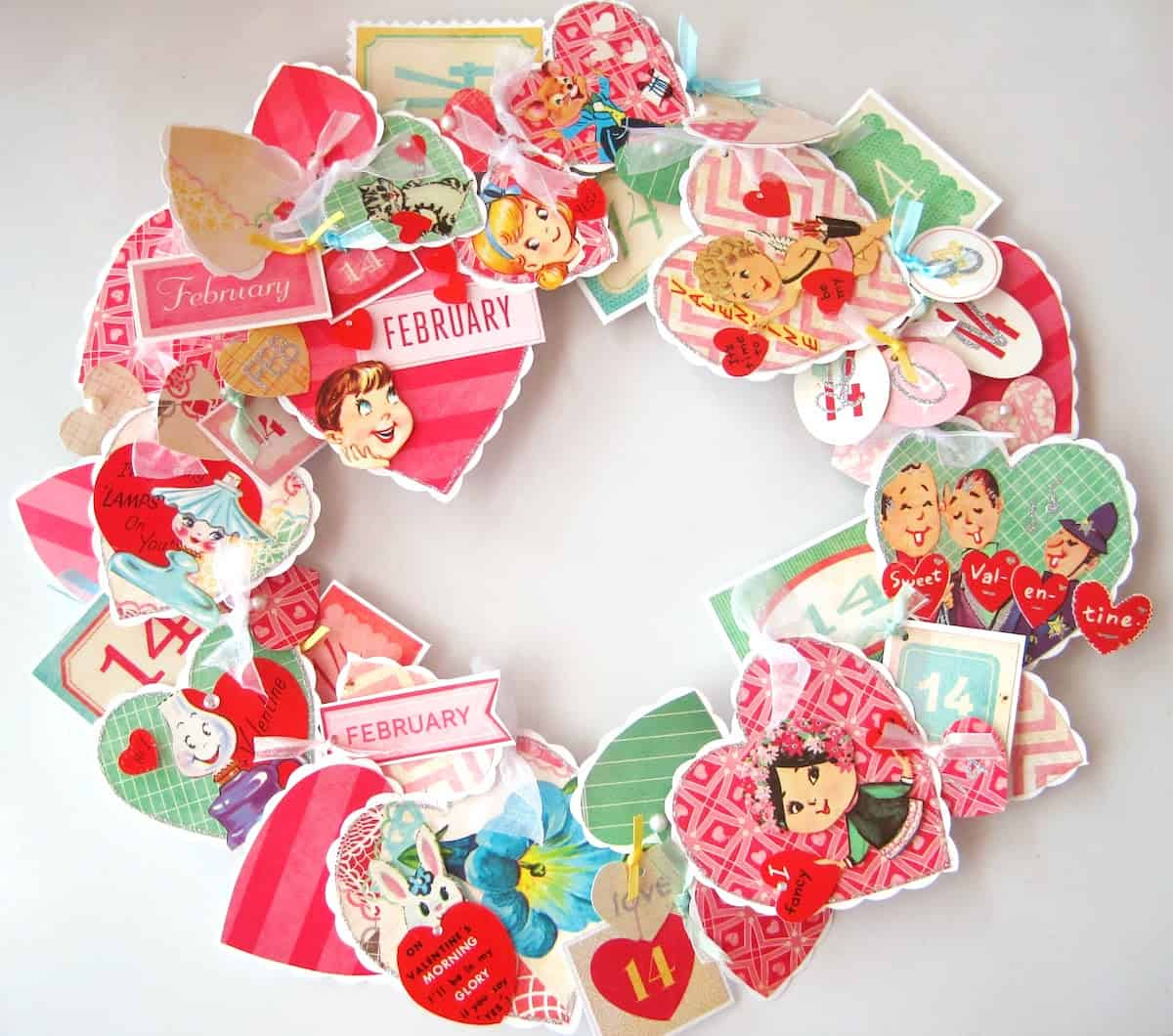 recycled greeting cards wreath