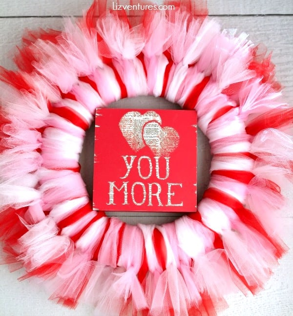 pink red and white tulle wreath