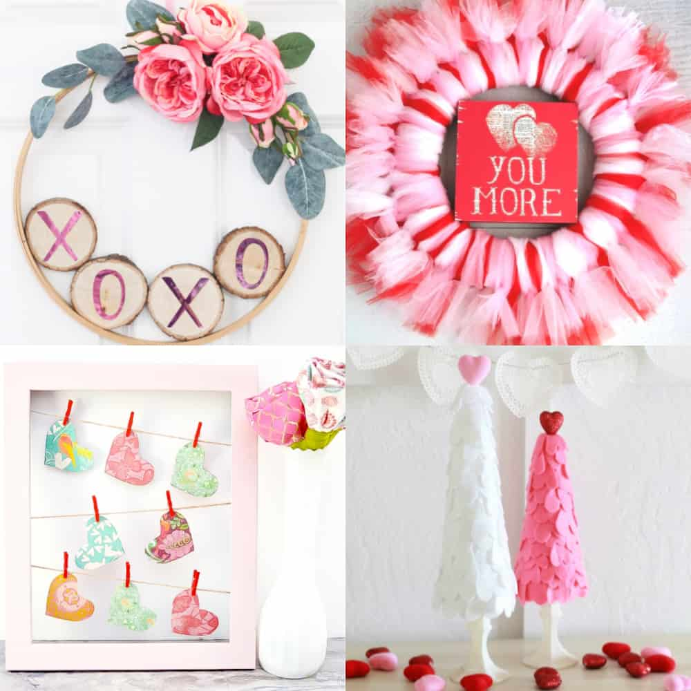valentine crafts for adults collage with 4 images