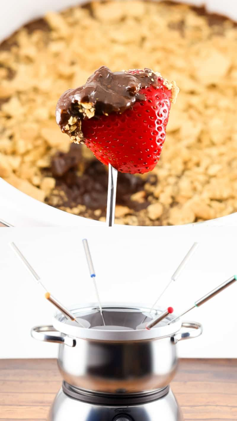 smores chocolate fondue with red strawberry