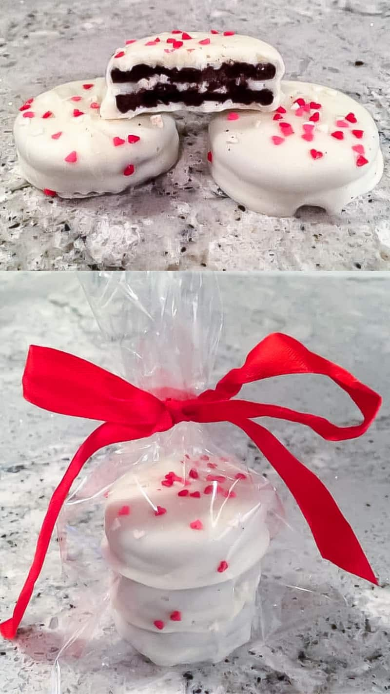 white chocolate dipped oreos with valentine sprinkles