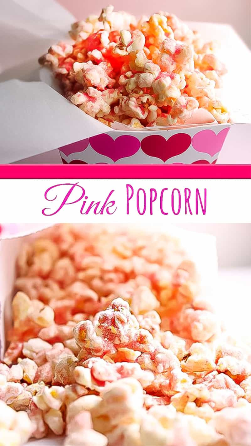 pink popcorn with red and pink sprinkles