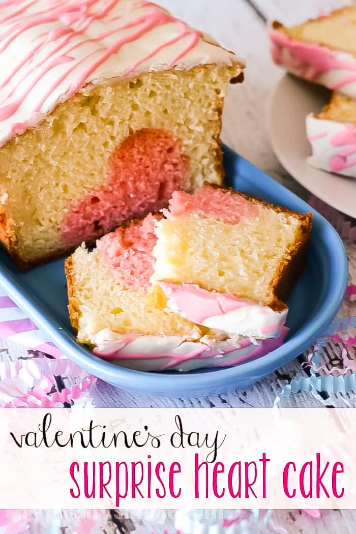 surprise heart cake with pink and white frosting